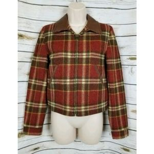 Ralph Lauren Wool Plaid Jacket Leather Collar Fall